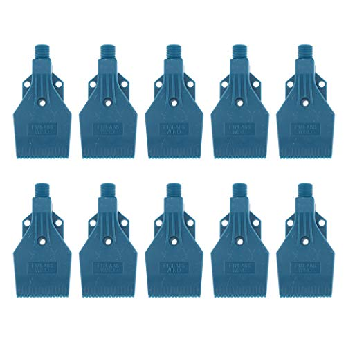 Fenteer Paquete De 10 Boquillas De Chorro De Aire De Plástico ABS De 1/4 Orificios Con Soplador De Aire Azul