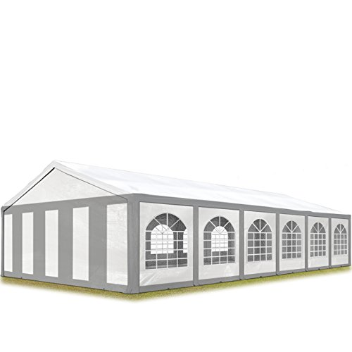 TOOLPORT Hochwertiges Partyzelt 6x12 m Pavillon Zelt ca. 240g/m² PE Plane Gartenzelt Festzelt Bierzelt Wasserdicht grau-weiß