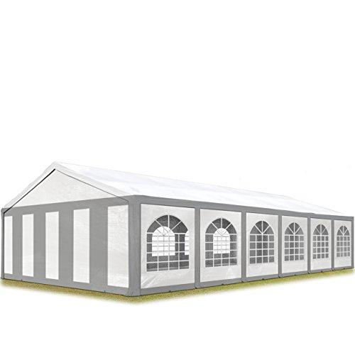 TOOLPORT Hochwertiges Partyzelt 6x12 m Pavillon Zelt 240g/m² PE Plane Gartenzelt Festzelt Bierzelt Wasserdicht grau-weiß