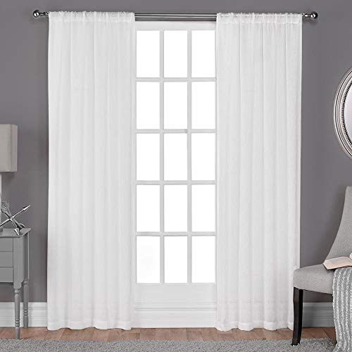 Lino Mantra Set of 2, 100% Cotton Duck Curtain White, Cotton Duck Reverse Tab Top Window Panels - 50x84 inch