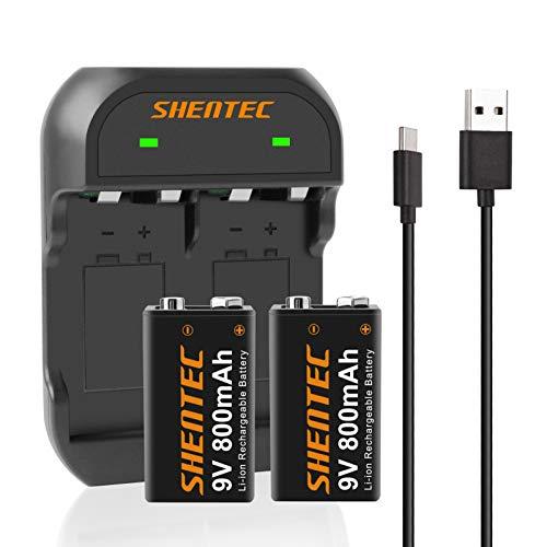 2 Pezzi Shentec 800mAh Li-ion 9V Batterie Ricaricabili da 1200 cicli,6F22 9V pile Ricaricabil Senza l'Effetto della Memoria Anche è Auto-Scarica Bassa