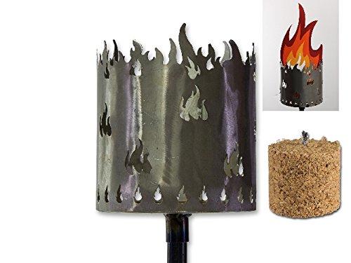 AS Metall Fackel Flammen 128 cm Beleuchtung Windlicht Gartenstecker Rost