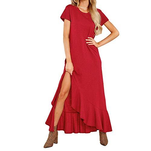 Sommer Damen Kleid Wickelkleider mit Seiten Schlitz Split Einfarbig Maxikleid, Lässiges Mit Kurzen Ärmeln und Rüschen und Schlitz für Damen