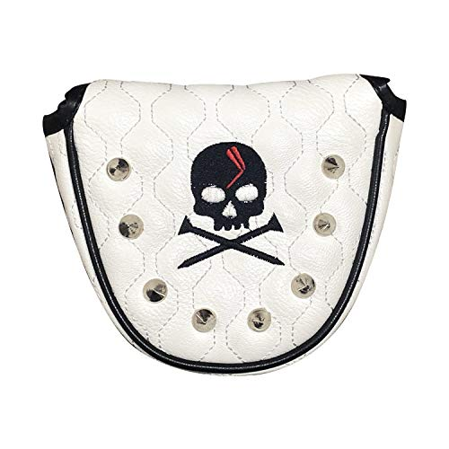 Putter Cover Bag Pouch for Mallet Head Two Ball Golf Putting | Suitable Compatible for Odyssey Callaway Rife Rossa Versa Scotty Cameron Futura | Magnetic Closure Skull Design Covers Headcover (White)