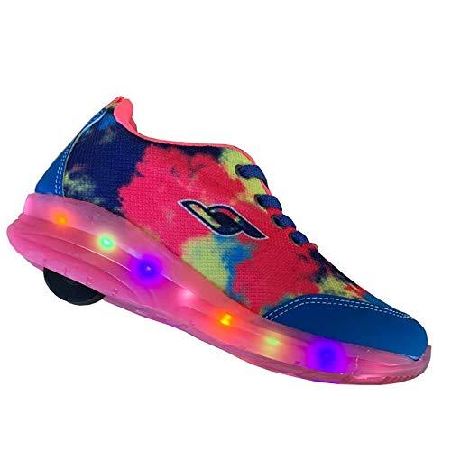 tênis infantil rodinha e led com luzinhas coloridas Cor:Rosa;Tamanho:29
