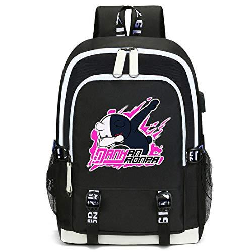 Unisex Fashion Canvas Backpack USB Charging Students Double Zipper Backpack Danganronpa (1)