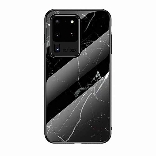 Miagon Galaxy S20 Ultra Glas Handyhülle,Marmor Serie 9H Panzerglas Rückseite mit Weicher Silikon Rahmen Kratzresistent Bumper Hülle für Samsung Galaxy S20 Ultra,Schwarz