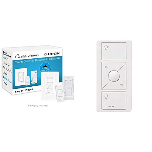 Lutron Caseta Smart Home Dimmer Switch and Pico Remote Kit, White & 3-Button with Raise/Lower Pico Remote for Caseta Wireless Smart Lighting Dimmer Switch, PJ2-3BRL-WH-L01R, White