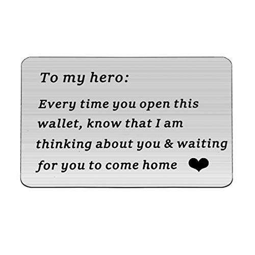 Zuo Bao Mens Engraved Wallet Insert Card Fathers Day Gift for Him My Hero Gift for Dad Husband Boyfriend To My Hero Wallet Card (Wallet Insert)