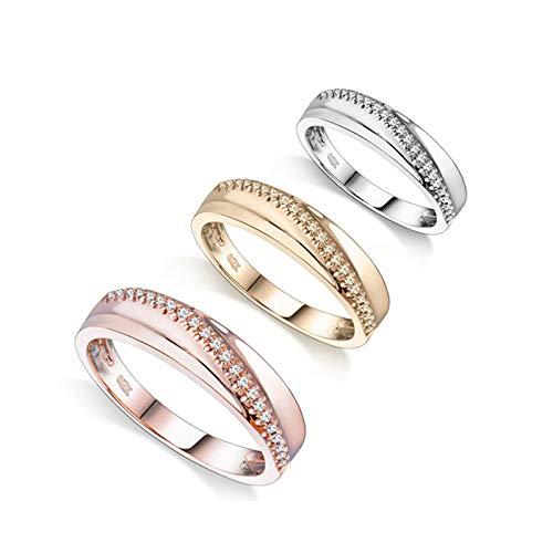 Aartoil 18K White Gold Wedding Bands for Men Women Wave Diamond Promise Engagement Ring Birthday Valentine's Day Gift (Size N 1/2) (Main Stone: 0.22ct Diamond)