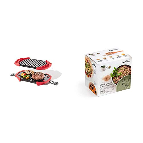 Lékué Microwave Grill, Red microondas, Acero, rojo y negro + Recipiente para cocinar Quinoa, Arroces y Cereales, 1 Litro