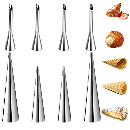 FOCCTS 4Pcs Cream Icing Piping Nozzle Tip Cream Puff Nozzle, 4Pcs Cream Horn Molds Lady Lock Forms, Pastry Roll Horn(Each has 2 sizes)