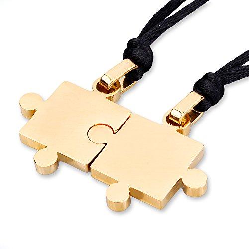 Mendino-Puzzle-Anhänger für Herren und Damen, schwarz, Liebespaar, Valentinstag, Edelstahl, Halsketten, 2 Teile. (Gold)