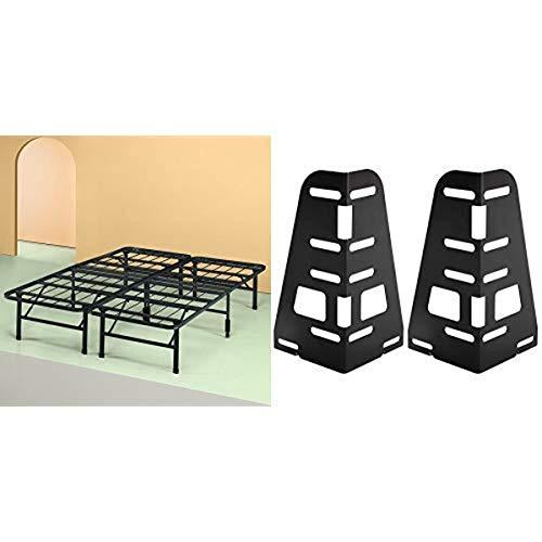 Zinus Shawn 14 Inch SmartBase Mattress Foundation/Platform Bed Frame/Box Spring Replacement/Quiet Noise-Free/Maximum Under-Bed Storage, Queen Headboard Bracket, Set of 2