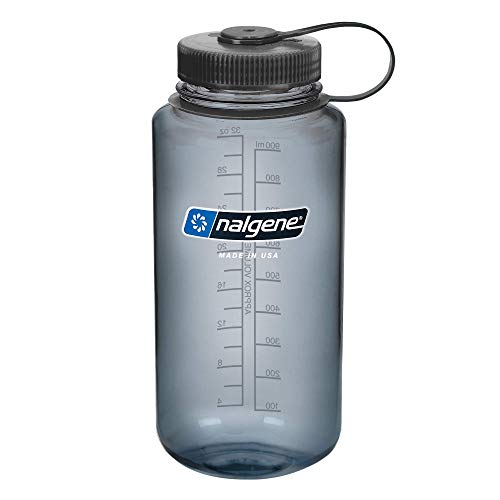 Nalgene BPA Free Tritan Wide Mouth Water Bottle, 32 Oz, Gray with...