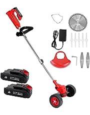 Grastrimmer draadloos, met wielen, elektrische grastrimmer met 3 messen, 2 accu's en oplader, verstelbaar, telescoop, voor tuin, boerderij, rood