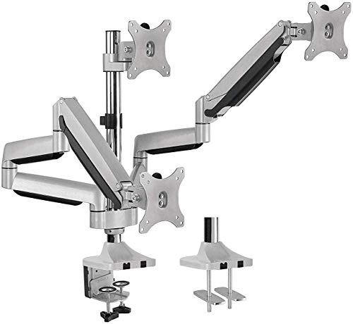 AVLT-Power Triple 32' Monitor Desk Stand - Mount Three 15.4 lbs Computer Monitors on 3 Full Motion Adjustable Arms - Organize Your Work Surface with Ergonomic Viewing Angle VESA Monitor Mount