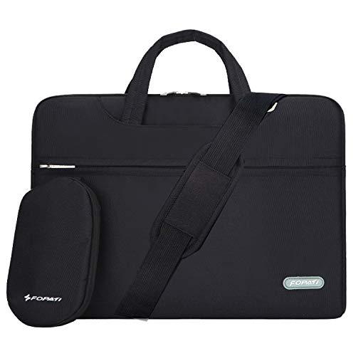 YOUPECK 15 15.6 Zoll Laptop-Tasche, Laptop-Umhängetasche, wasserdichte Notebooktasche, Tragetasche mit Tragegurt für MacBook Air Pro 15 Lenovo Ultrabook 15, schwarz