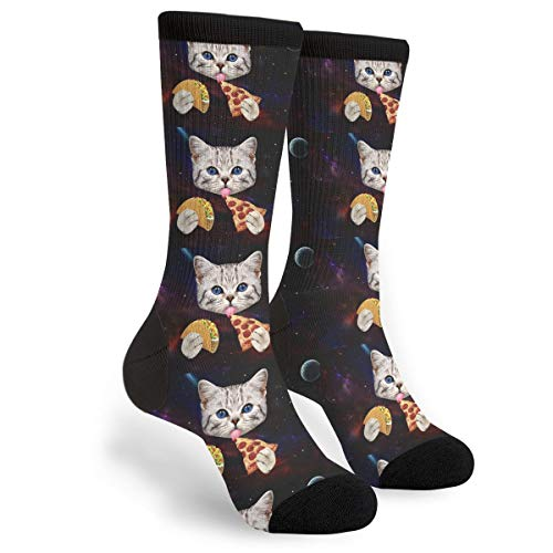 Women's Men's Fun Novelty Crazy Crew Socks Space Cat With Taco And...