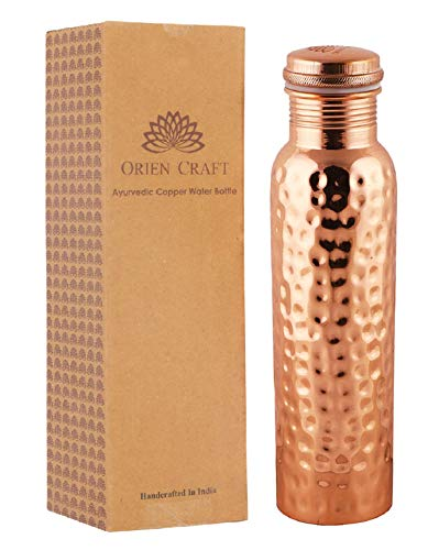 ORIEN CRAFT Pure Copper Water Bottle Ayurvedic with Lid 34 Oz Pure Hand Hammered Copper Vessel - Drink More Water, Lower Your Blood Sugar Level and Blood Pressure
