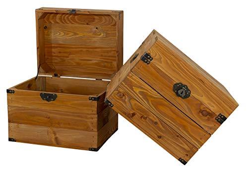1x Tolle Truhe mit Deckel, aus Holz, mit Metallbeschlägen an den Ecken & Aufdruck, zur Aufbewahrung von Kleinkram, neu, 45x35x35cm - 5