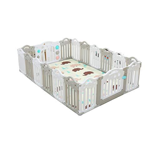 LIUFS-Clôture Centre d'activités de sécurité pour barrières de jeu pour enfants, tapis de couchage gris et blanc (Couleur : Gray and White, taille : 14+2 fences)