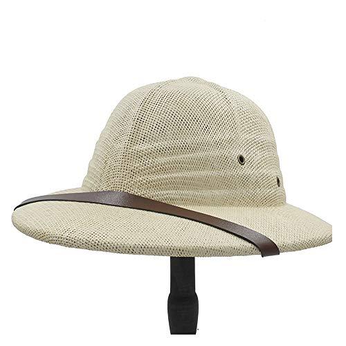 FeiNianJSh Moda de Verano de Vietnam Gorra Militar de Paja Sombrero de bombín Simple Damas Hombres Explorador Sombrero de Paja Selva Minero Gorra de Verano Arco Bucket Sombrero para el Sol
