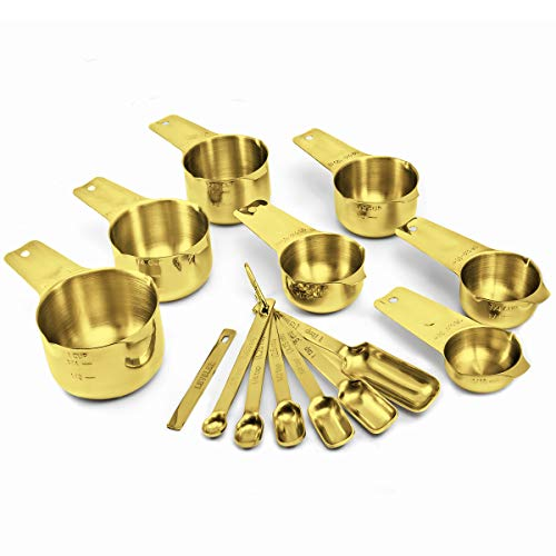 2lbDepot Gold Measuring Cups & Spoons Set of 14, Premium Stainless Steel Metal, 7 Accurate Measuring Cups, 6 Measuring Spoons +1 Leveler, Nesting, Dry & Liquid Ingredients for Kitchen Baking & Cooking
