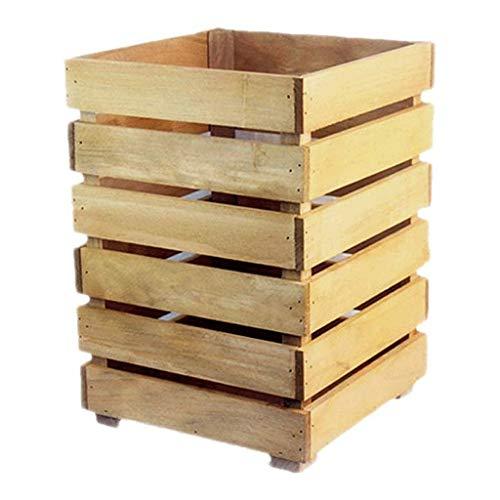 Cubo De Basura Cubo de Basura para Exterior Basura de madera creativa puede color natural de almacenamiento de cubo simple bloque de madera Escombros contenedores Home Essentials Basurero para Cocina