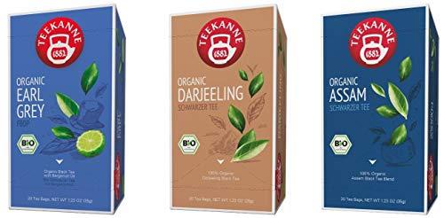 Teekanne Bio Schwarzer Tee - Assam, Earl Grey, Darjeeling (3 x 20 Teebeutel, 105 g)