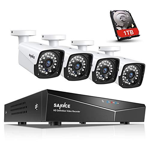 SANNCE 4 Canali Kit sorveglianza Sistema di Sicurezza 1080P Kit Telecamera Videosorveglianza 4 Canali IP66 Sistema NVR Visione Notturna per Sicurezza della Famiglia 1TB HDD
