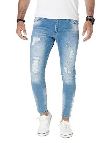 PITTMAN Jeans Skinny Fit M428 - Zerrissene Jeans Herren - Blaue Zerrissene Hose - Stretchjeans - Enge Jeanshose Männer, Blau (Blue Denim), W34/L32