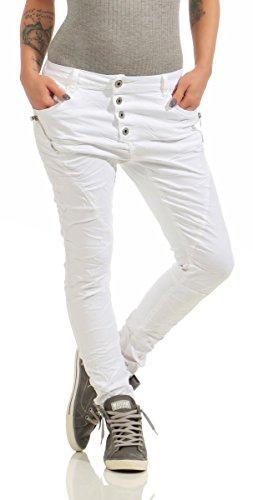 Fashion4Young 11424 Damen Jeans Röhrenjeans Hose Boyfriend Baggy Haremscut Damenjeans Slim-Fit (weiß, 3XL-46)