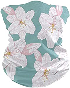 Not Applicable Bandana Scarf,Pink Lilies Sunscreen Sweat Half Face Headwear For Summer Skiing Volleyball 25x50cm