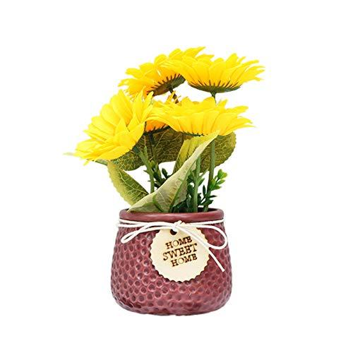 XHONG Maceta de girasoles artificiales de seda, arreglos de girasoles artificiales, bonsái, flores artificiales en maceta de plástico, para decoración de mesa de casa, oficina