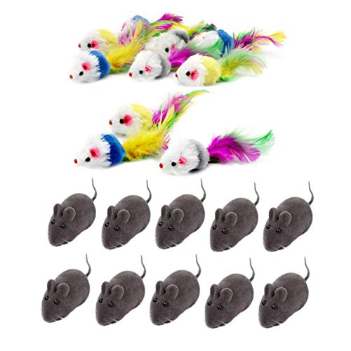 JZK 20 xKatzenspielzeug Mäuse mit Federschwänzen Mausspielzeug mit Lebensechter Klang interaktives Spielzeug für Katze Kitty
