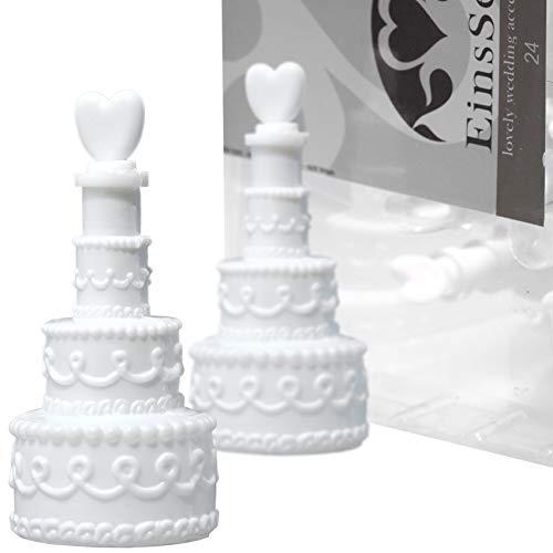 EinsSein 48x Bolle di Sapone Matrimonio Torta Box Bianco Wedding Bubbles bollè sposi Piccola Compleanno Festa sapomo bolles sposi Bolla Contenitore Matrimonio Decorazioni Decoration Accessories Nozze