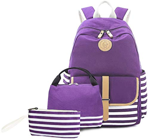 Backpack for Girls, Createy School Backpack Bookbags Causal Travel Canvas Rucksack Laptop Bag Canvas Girls Backpacks with Lunch Box and Pencil Case for Teens