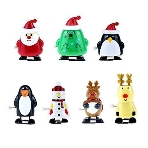 BESPORTBLE 7St. Weihnachten Aufziehspielzeug Weihnachtsmann Schneemann Rentier Pinguin Figur Weihnachten Aufziehfigur Ornament für Kinder Weinachten Party Favor Kindergeburtstag Gastgeschenk