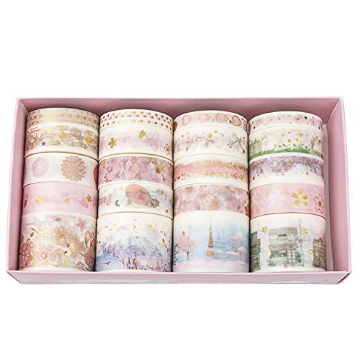 Diealles Shine 20 Rollos Bronceado Washi Tapes Set,Cinta Adhesiva Decorativa para DIY manualidades, Revistas, planificadores, tarjetas, scrapbook y envoltura de regalos, Style 2