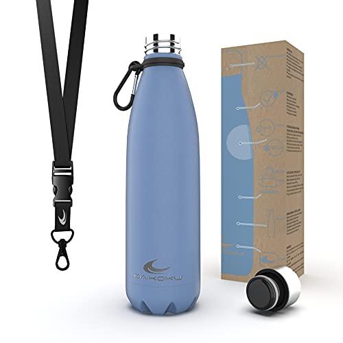 Daikoku Botella Acero Inoxidable + Cinta ajustable + Mosquetón + Anillo Silicona - Termo Doble Pared Libre BPA - 12 Horas Caliente - 24 Horas Fría – Botella Reutilizable - 500ml - Color Azul