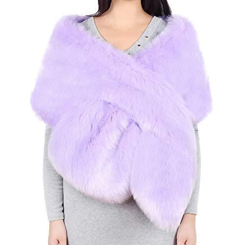 Estola de Invierno para Novia, Chal para Mujer de Piel Sintetica Boda Abrigo de Cuello Bufandas