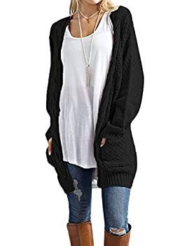 Traleubie Women s Loose Casual Long Sleeved Open Front Cardigans Sweater with Pocket Black M