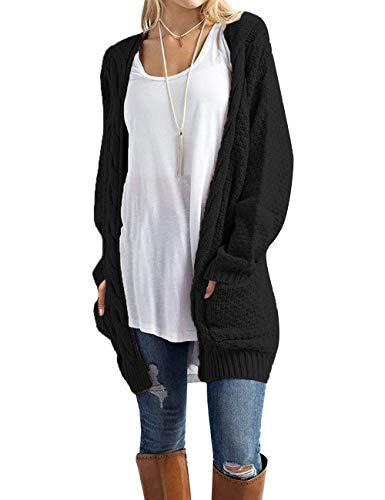 OmicGot Women's Soft Knit Cardigans Sweater Outwear Long Sleeve Open Front with Pocket Black XL