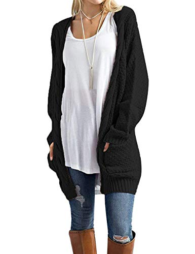 OmicGot Women's Soft Knit Cardigans Sweater Outwear Long Sleeve Open Front with Pocket Black M