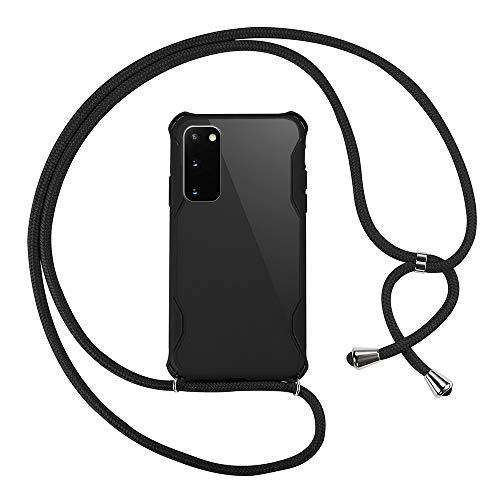 xinyunew Funda Colgante movil con Cuerda para Colgar Samsung Galaxy S20 - Carcasa de móvil Caja del teléfono Collar Colgante Ajustable cordón Funda para teléfono con cordón -Negro