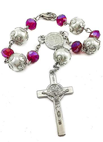 Saint Benedict Evil Protection Medal with Cross Purple Crystal Beads Auto Car Rosary Mirror Rearview