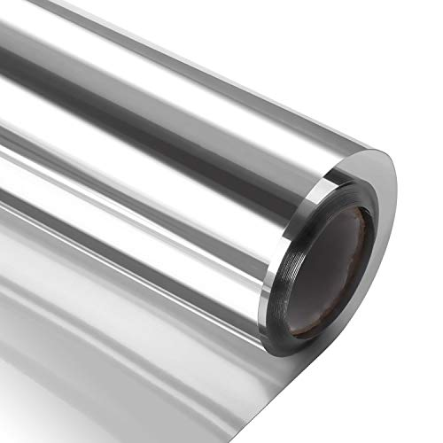 Window Heat Control Film Kit Anti-UV One Way Mirror Film Privacy Static Glass Films Non-Adhesive Window Tint for Home and Office, 35.4 inch x 6.56 Feet (Silver)