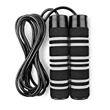 TKO Weighted Jump Rope for Adult Fitness   2 - 0.5 lb Removable Weights   9 FT Long for Cardio Exercise Workouts, Non-Slip Handles - Black/grey
