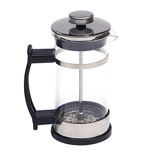 Cafetera de prensa francesa, cafetera de acero inoxidable con jarra de cristal, cafetera manual y tetera, émbolo de café con filtro, para el hogar y la oficina (350 ml)